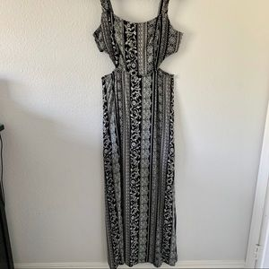 Black and White Maxi dress with side cutouts